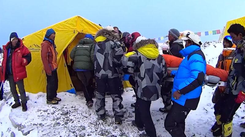 Everest basecamp injured carry