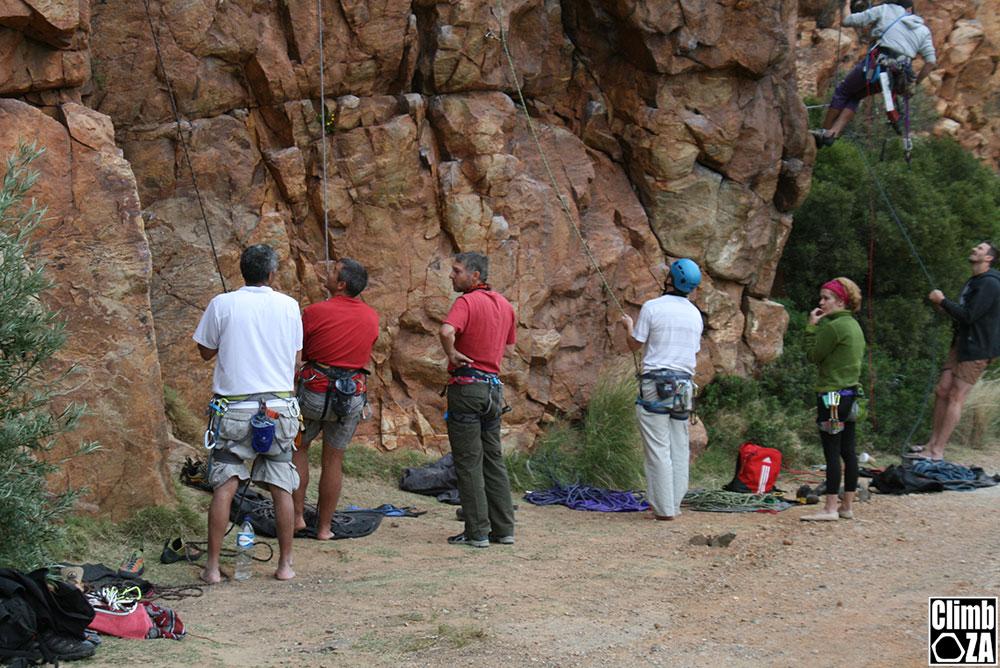 Rebolting climbing area