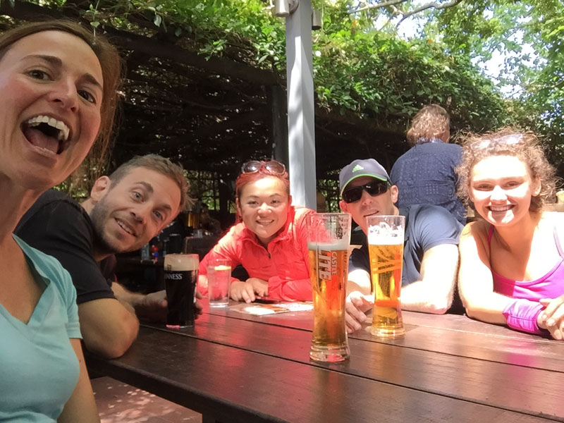 Beers after hiking