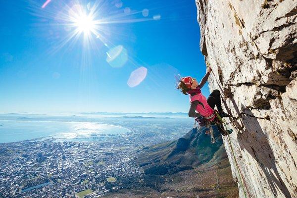 Gosia Lipinska climbing Table Mountain