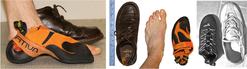 rock climbers foot compared normal shoe rock shoe