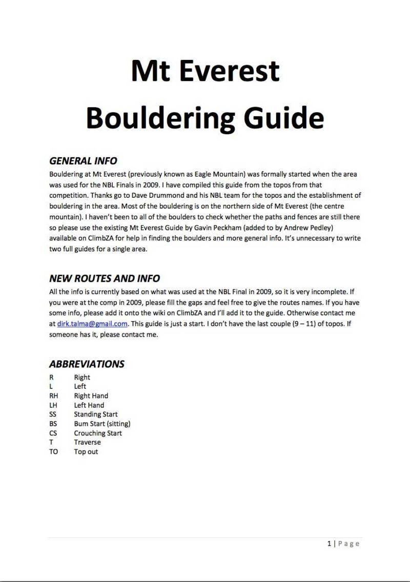 Mt Everest Bouldering Guide