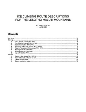 ICE CLIMBING ROUTE DESCRIPTIONS FOR THE LESOTHO MALUTI MOUNTAINS