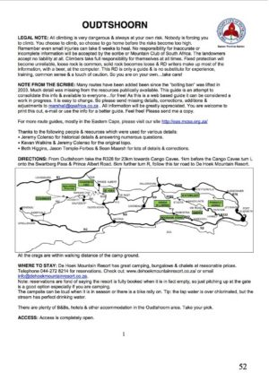 Oudtshoorn Climbing Guide
