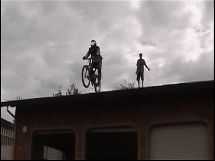 Riding off the roof of my house