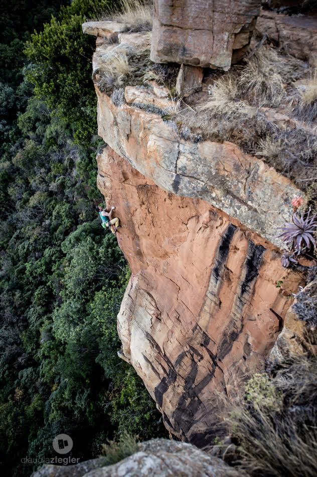 The very exposed and scary, Sweet Child O' Mine (7c). Watch out for that ledge! Too bad about the one bolt's location.