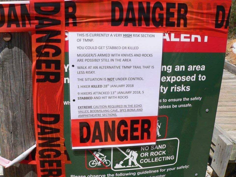 sanparks danger area sign