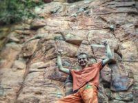 Mel Janse van Rensburg climbing