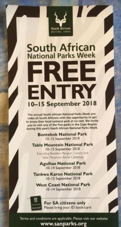 Sanparks free week 2018
