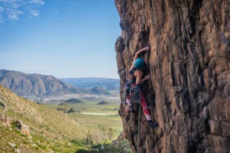 Gosia Lipinska climbing the very enjoyable easiest route on the Wall of darkness (Photo: Garrreth Bird)